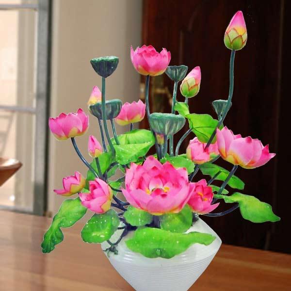 Lotus Flower Centerpiece : Artificiail lotus flowers table arrangement