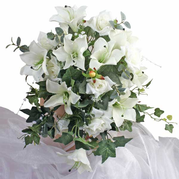 Artificial White Lilies & Roses Hand Bouquet