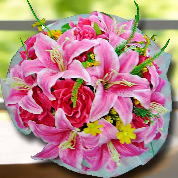 Artificial Pink Lilies & Roses Hand Bouquet