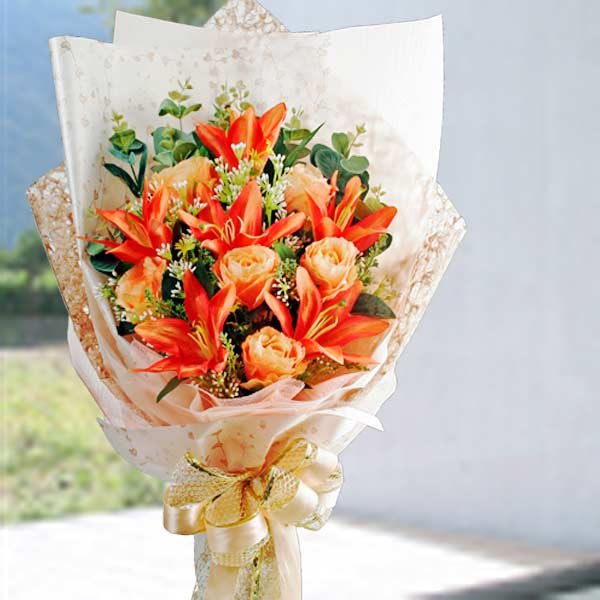 Artificial Orange Lilies & Roses Hand bouquet.