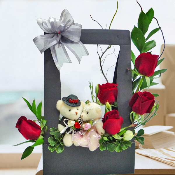 Mini Wedding Bear & 5 Red Roses Arrangement