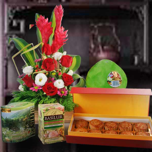 Ceylon Tea Pomelo Moon Cake Fresh Flowers Arrangement
