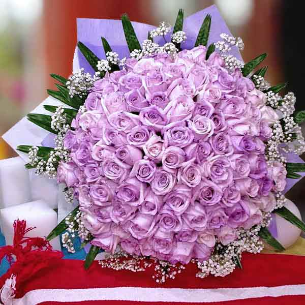 99 Purple Roses Hand Bouquet, Kindly order 3 Days in advance.