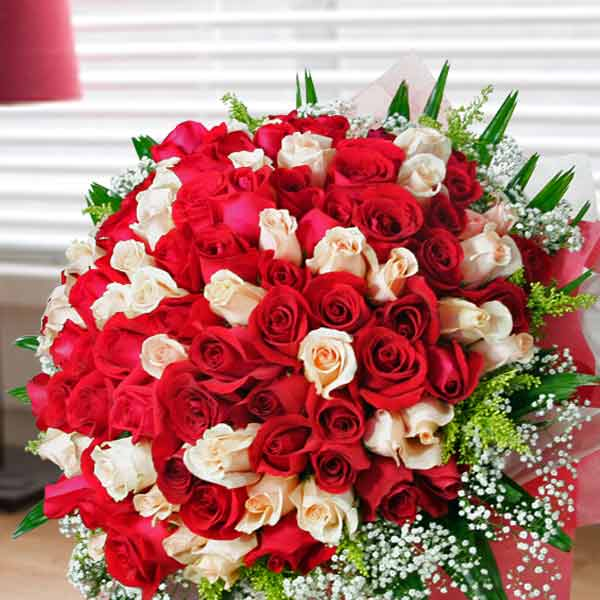 99 Roses ( 50 Red 49 Champagne ) Handbouquet