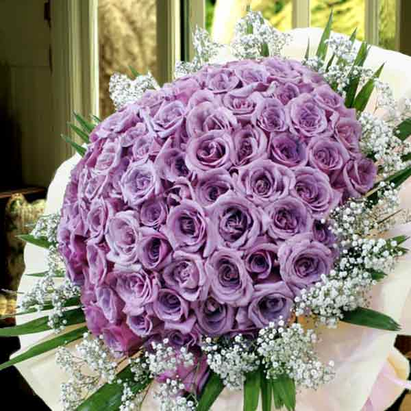 99 Natural Classic Purple Roses Bouquet (Kindly order 2 days advance)