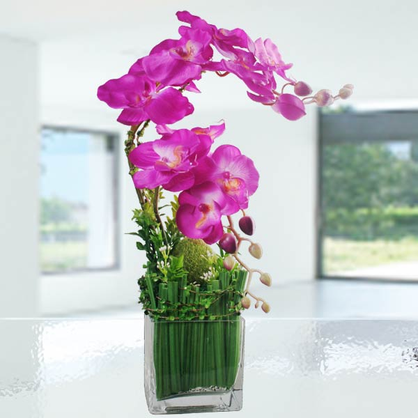 Artificial Phalaenopsis Orchid in Small Glass Vase
