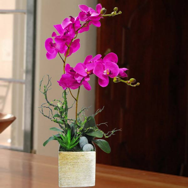 Artificial Purple Phalaenopsis Orchid Arrangement