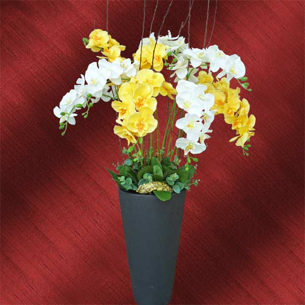 10 Artificial Phalaenopsis Orchids in Plastic Planter Pot 130cm Height