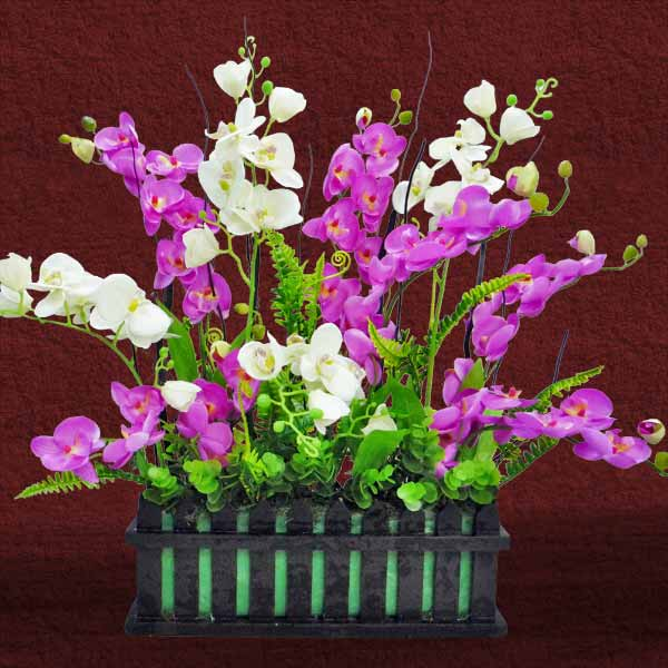 Artificial Phalaenopsis Orchids in Wooden Planter 60cm Height.