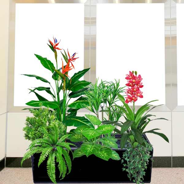 Artificial Plants In Planter Box
