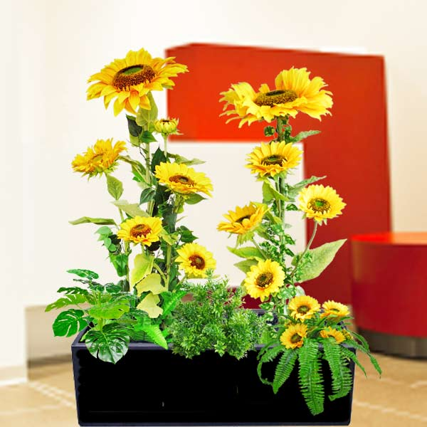 Artificial Sun Flower Plants Group in Planter Box