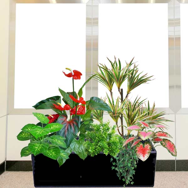 Artificial Plants Group In Planter Box