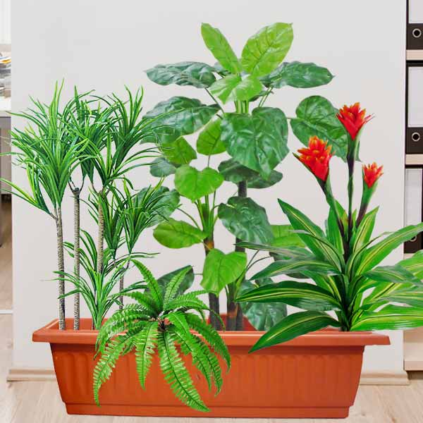 Assorted Artificial Plants in 3 Feet Long Planter Box