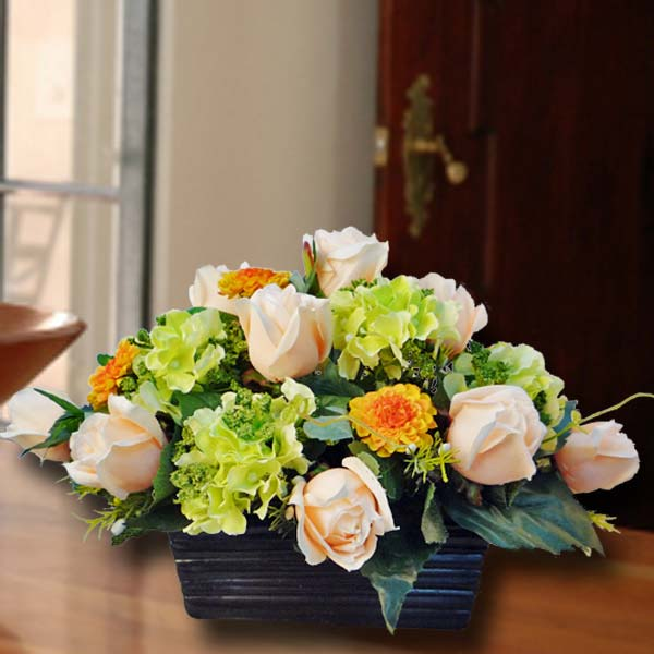 Artificial Champagne Roses with Green Hydrangeas Table Arrangement