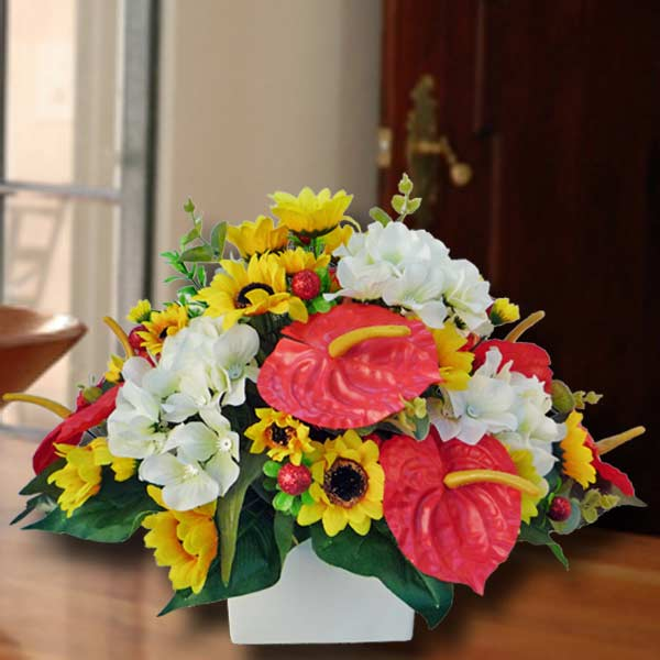 Artificial Sunflower, Anthurium & Hydrangea Centerpiece Arrangement.