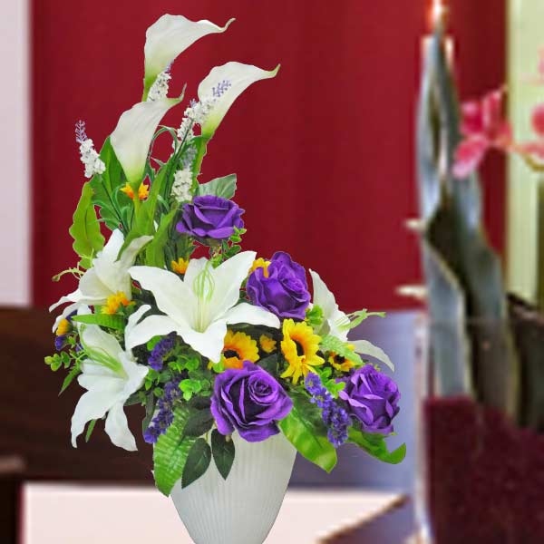 Artificial Purple Roses With White Lilies Table Arrangement