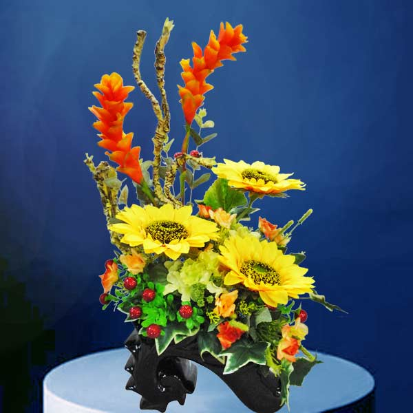 Artificial Sunflowers In Special Vase Table Arrangement