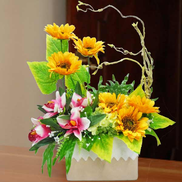 Artificial Sunflowers & Orchids Table Arrangement