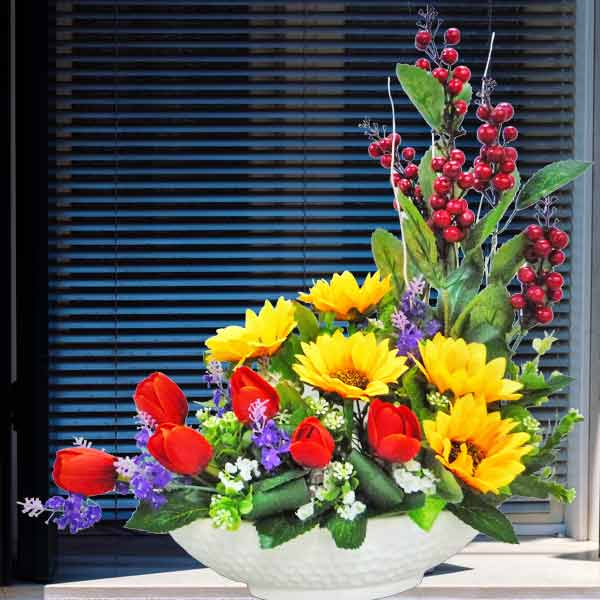 Artificial  SunFlowers & Tulips Table Arrangement Delivery
