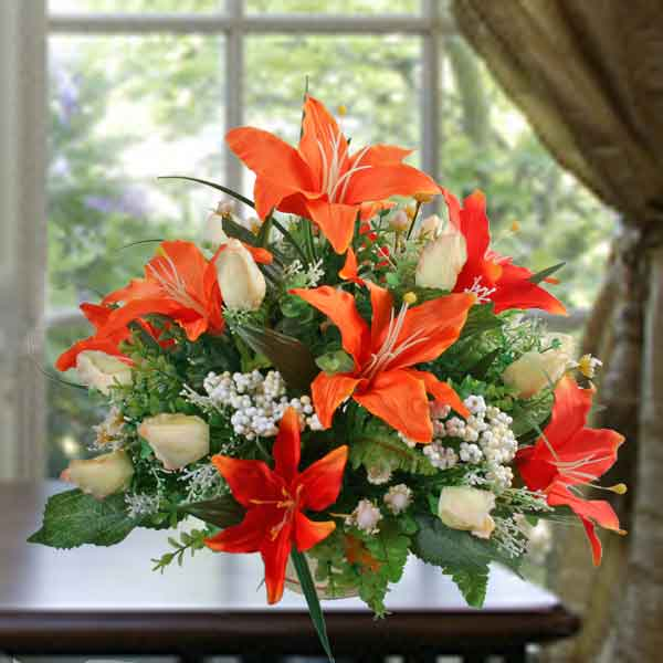 Artificial Orange Lilies Arrangement