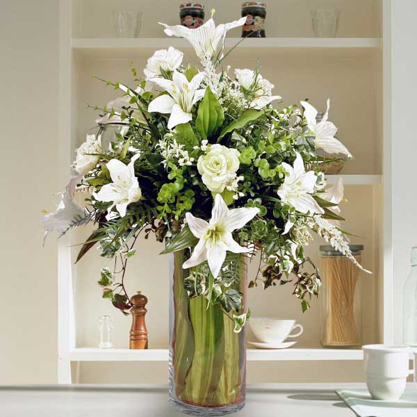 Artificial White Lilies & Roses In Glass Vase Arrangement