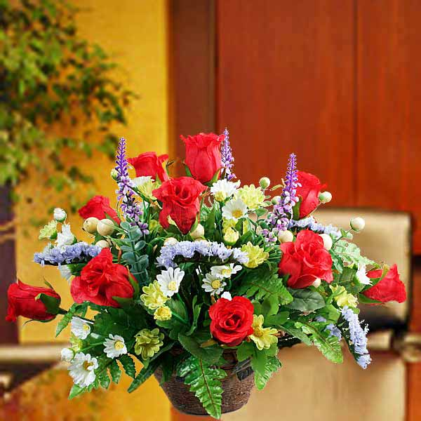 Artificial Red Roses With Forget-Me-Not Table Arrangement