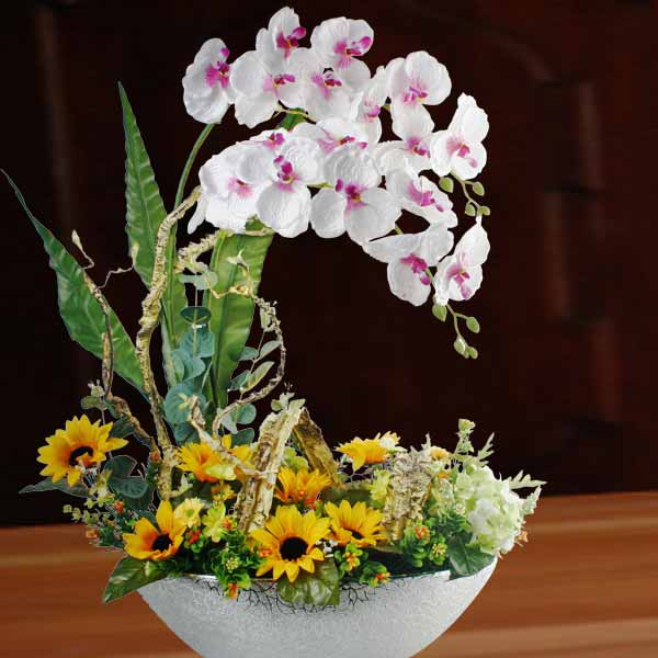 Artificial Phalaenopsis Orchid & Sunflower Table Arrangement