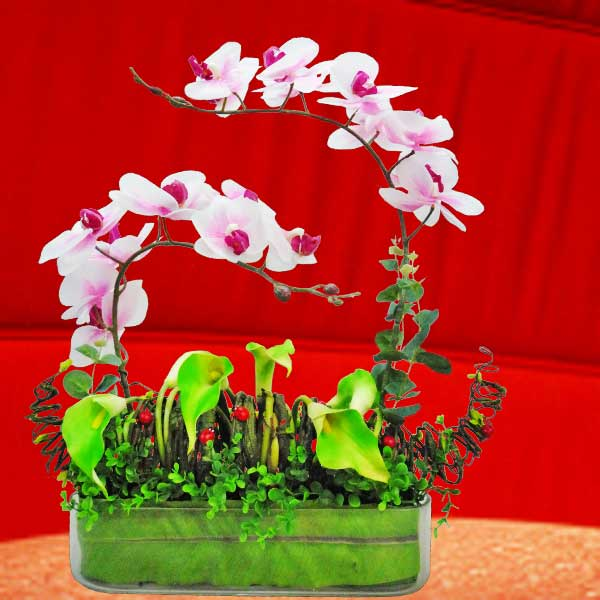 Artificial Phalaenopsis Orchid & Calla Lilies In Glass Vase Table Arrangemen
