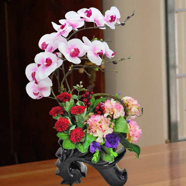 Artificial Phalaenopsis Orchid & Hydrangeas Flowers Table Arrangement