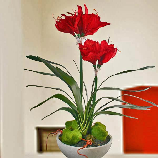 Artificial Red Amaryllis Plant