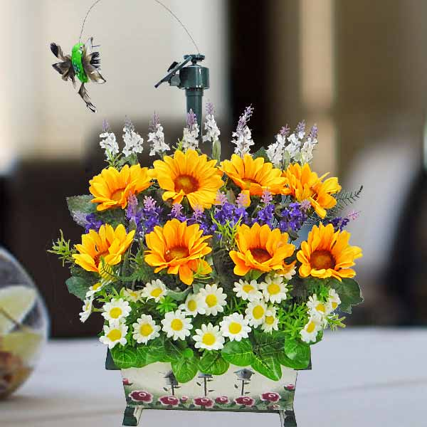 Artificial Sun Flowers With Flying Bird Table Arrangement