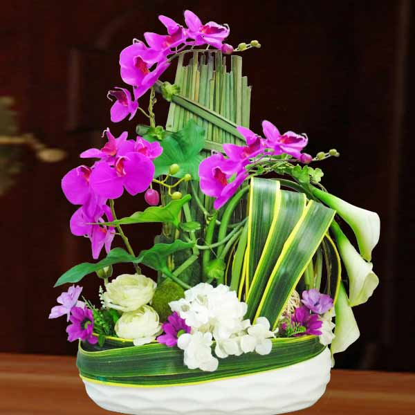 Artificial Phalaenopsis Orchid, Hydrangeas & Lilies Table Flowers Arrangemen