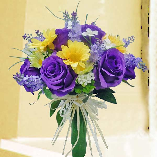 Purple Artificial Roses Handbouquet