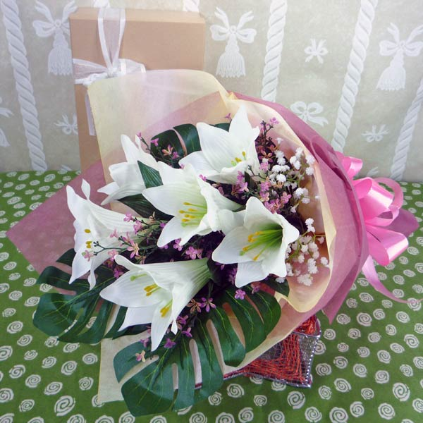 6 Artificial Lily Handbouquet