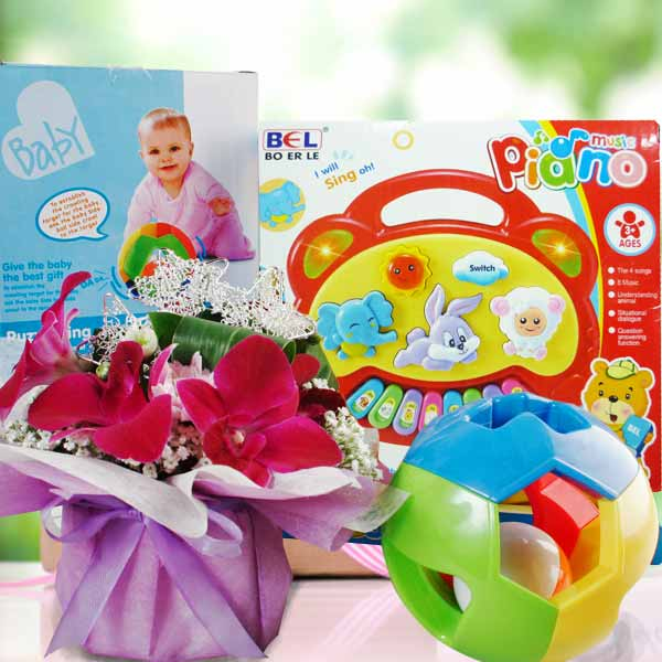 Baby Gift: Giraffe Keyboard, Puzzle Ring Ball & Orchid