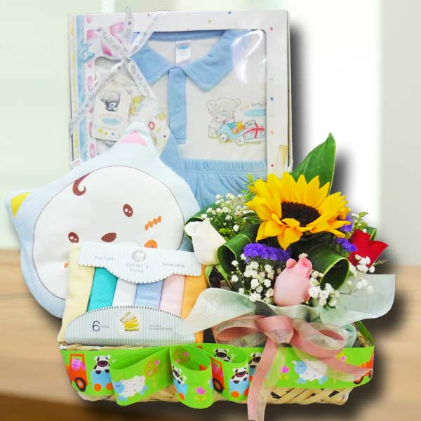 Baby Boy & Sunflower Gift Basket Hamper