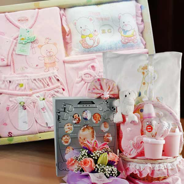 Baby Girl Gift Set, Photo Frame & Flowers Bouquet