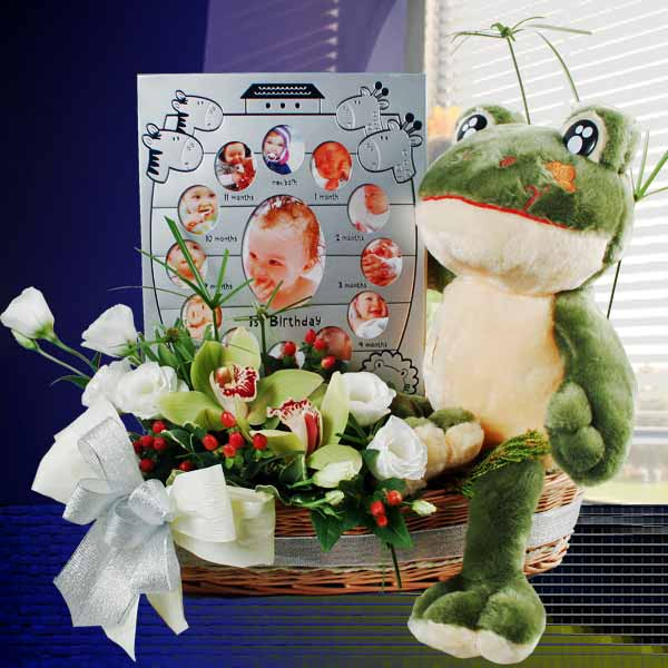 Baby Photo Frame, Frog & Orchids Gift Basket