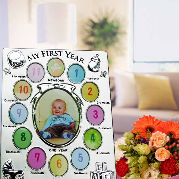 Baby 12 Month Photo Frame & Flowers Bouquet