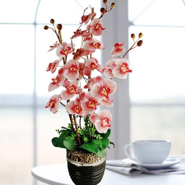 Artificial Phalaenopsis Red Orchid Table Arrangement