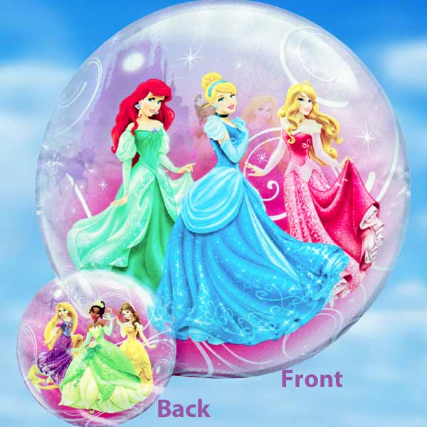 Add-On 22 Inches Helium Filled Round (Disney Princess) Floating Bubble Ballo