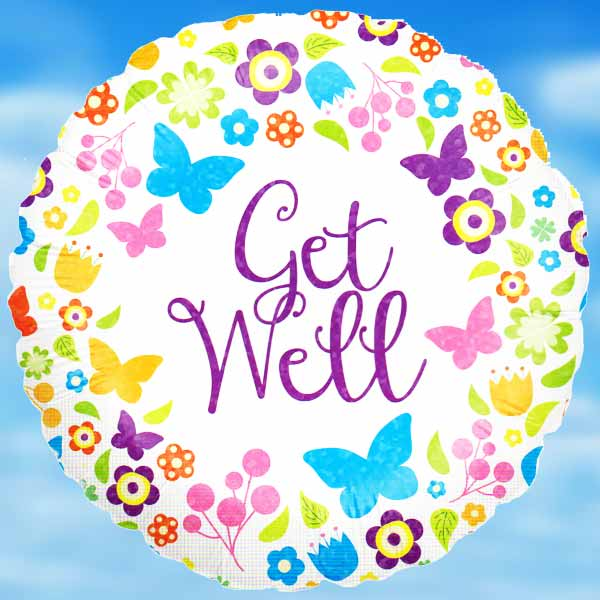 Add-on Helium filled 18 inches Mylar (Get Well) Balloon