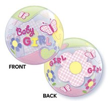 "Add-On 22"" Helium Filled (BABY GIRL BUTTERFIES) Floating Bubble Balloon"