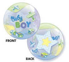 "Add-On 22"" Helium Filled (BABY BOY AIRPLANES) Floating Bubble Balloon"
