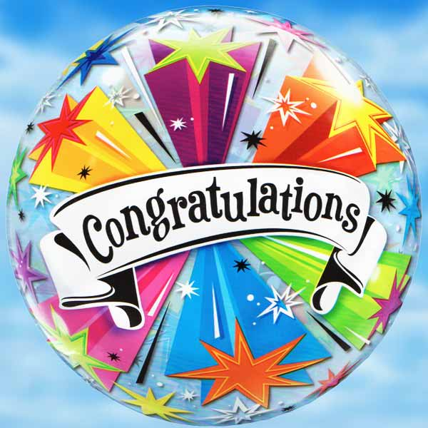 "Add-On 22"" Helium Filled Round ( Congratulations ) Balloon"