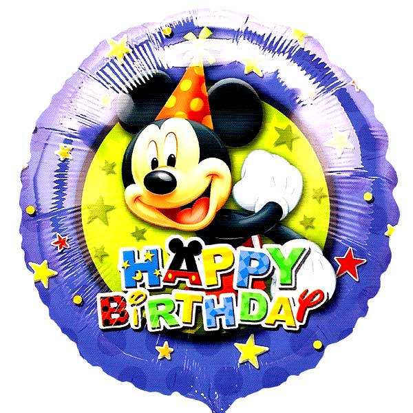 "Add-On 18"" Helium Filled (Mickey Birthday) Mylar Floating Balloon"