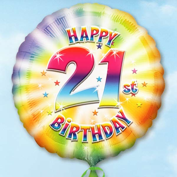 Add On 18 Helium Filled 21st Birthday Mylar Floating Balloon