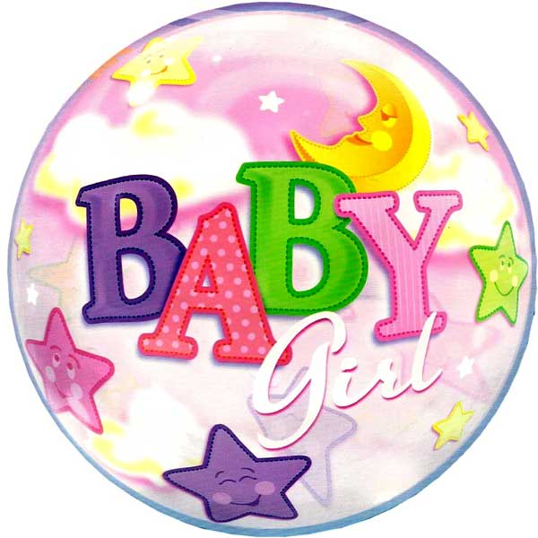 "Add-On 22"" Helium Filled Round (BABY GIRL with stars) Floating Bubble Ba"