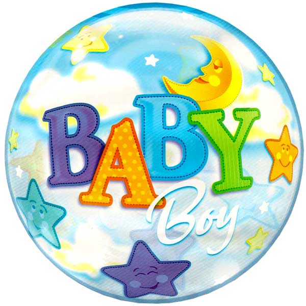 "Add-On 22"" Helium Filled Round (BABY BOY with stars) Floating Bubble Bal"