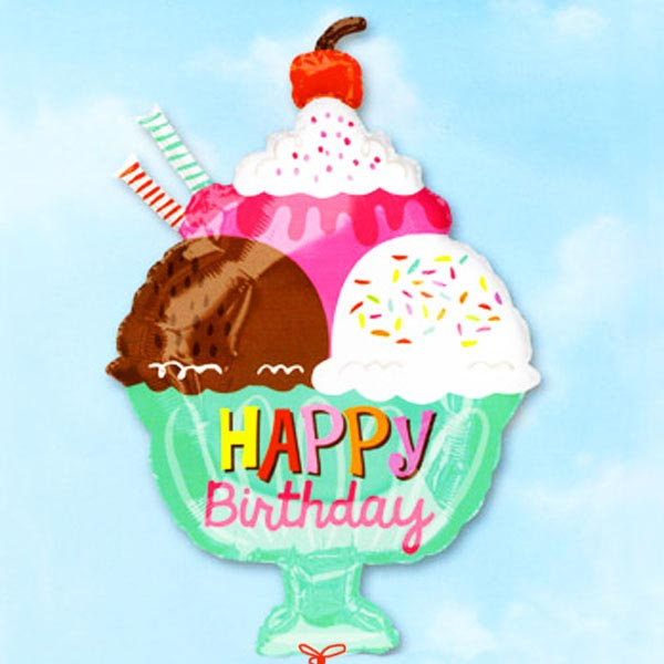 "Add-On 18"" Happy Birthday Ice Cream Floating Balloon"